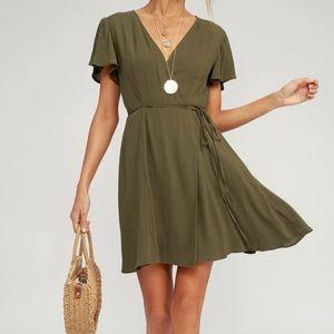 Lulus Harbor Point Olive Green Wrap Dress